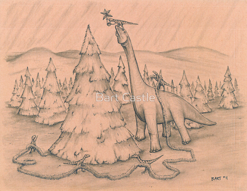 Dinosaurs Trimming the Tree - Original Dinosaur Art by Bart Castle