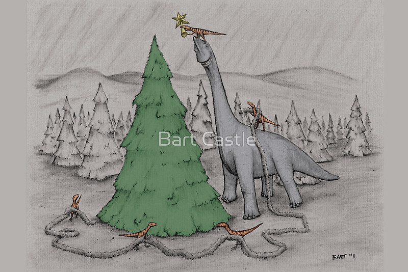 Dinosaurs Trimming the Tree - Colored - Original Dinosaur Art by Bart Castle