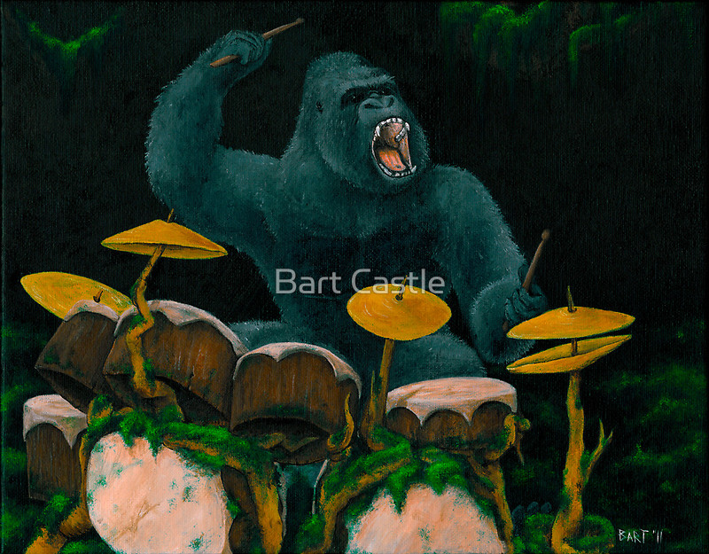 Gorilla Jungle Drums - Original Music Art & Musical Art by Bart Castle