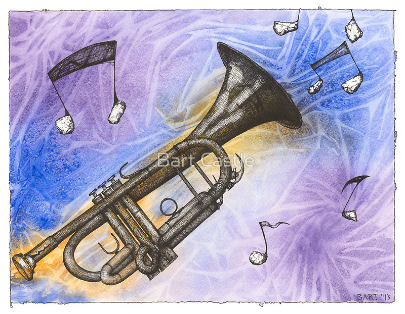 Trumpet Notes - Original Music Art by Bart Castle