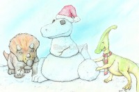 Snowasaurus Rex - Original Dinosaur Christmas Art by Bart Castle