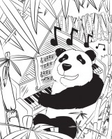 Piano Panda Hidden Object - Original Panda Art by Bart Castle