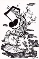 Broken Note, Hangs from Tree - Pen and Ink - Original Fantasy Music and Musical Art by Bart Castle - bartcastle.com