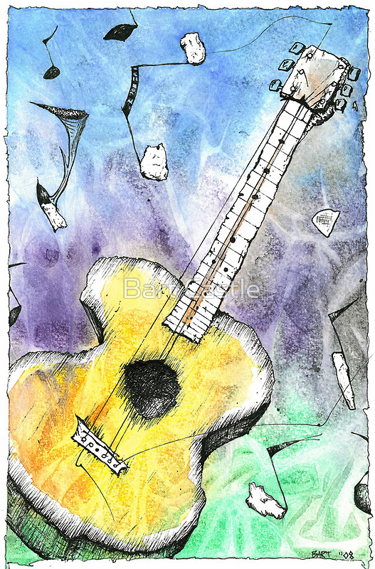 Guitar Notes - Original Music & Musical Instruments Art by Bart Castle