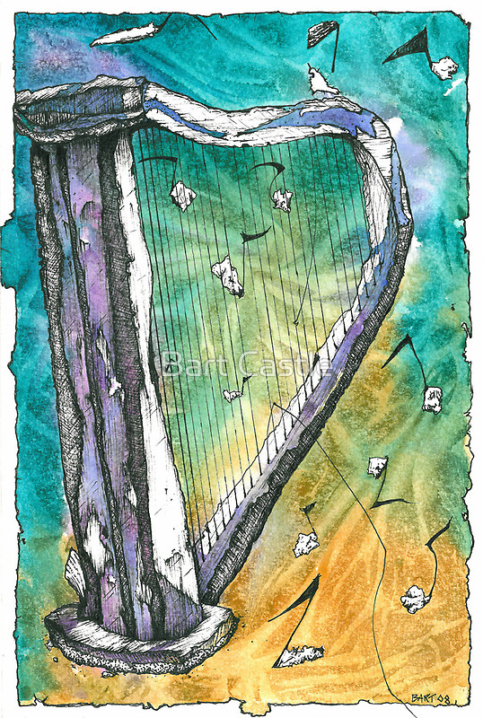 Harp Notes - Original Music & Musical Instruments Art by Bart Castle