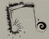Inverse Musical Note - Pen and Ink - Original Music and Fantasy Music Art by Bart Castle