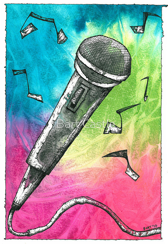 Microphone Notes - Original Music & Musical Instrument Art by Bart Castle