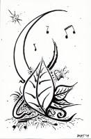 Music Moon Leaves - Pen and Ink - Original Thick Black Line and Tattoo Art by Bart Castle - bartcastle.com