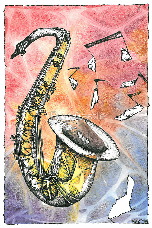 Sax Notes - Original Music & Musical Instruments Art by Bart Castle