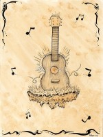 Tribute Guitar - Ink on Coffee Stain - Original Music and Music Instrument Art by Bart Castle - bartcastle.com