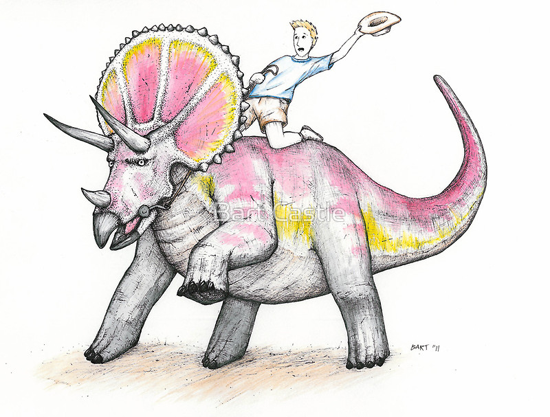 Yippie Ki-Yay Triceratops - Original Dinosaur Art by Bart Castle