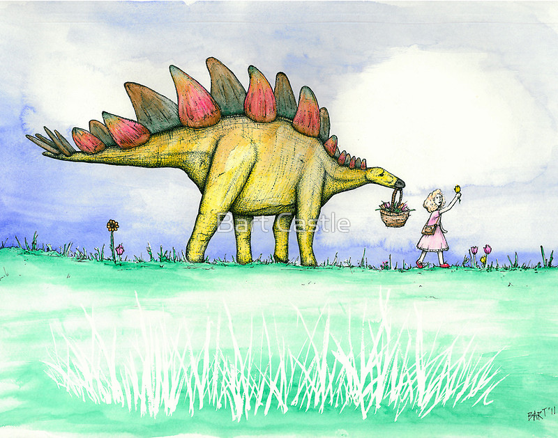 Stegosaurus Flowers - Original Dinosaur Art by Bart Castle