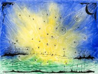 lightning bugs - ink on watercolor - original lighting bug and firefly art by bart castle