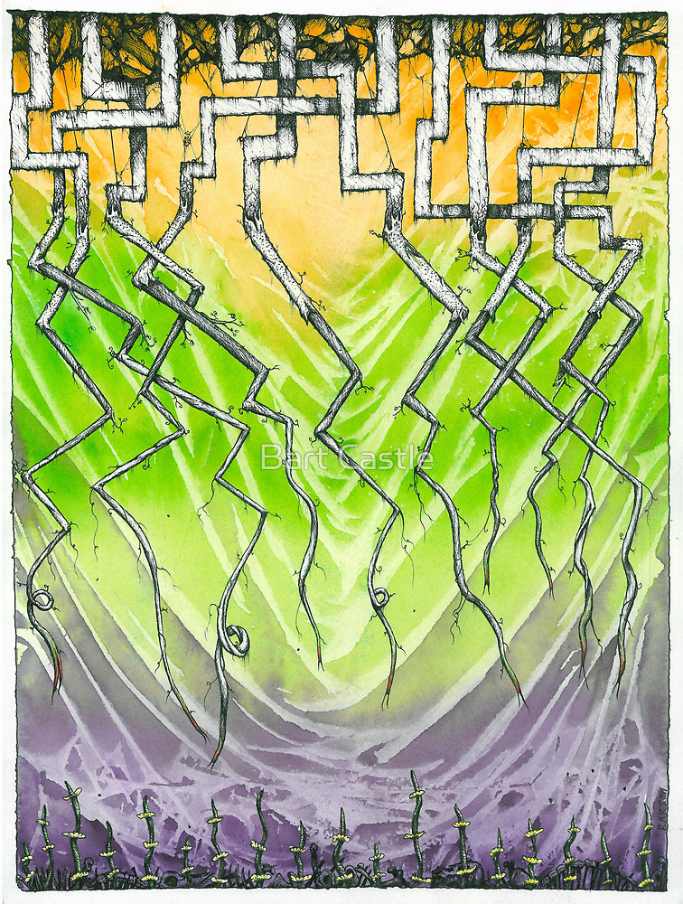 Cave of the Dragon-tongued Tendrils - Original Fantasy Art by Bart Castle