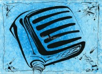 a classy microphone - ink on watercolor - original music and musical instrument art by bartcastle
